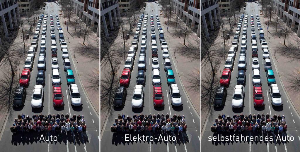 Wieviel Platz wird benötigt, um 60 Menschen zu transportieren? Die Fortentwicklung des privaten Pkw kann das Platzproblem in den Städten nicht lösen. Originalfoto: Cycling Promotion Fund Australia