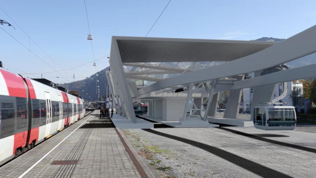 Die Wälderbahn soll direkt neben dem Bahnsteig 1 am Bahnhof Dornbirn starten und die Stadt mit dem Bregenzerwald verbinden (Fotomontage). © www.waelderbahn.at