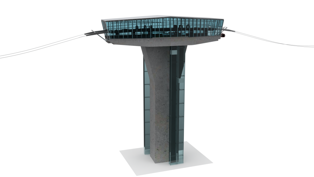 So könnten die über 100 Meter hohen Stationen der Linzer Seilbahn aussehen: Die Bahnsteige werden über Aufzüge erreicht. © BauCon ZT GmbH