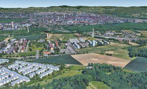 Blick von Ebelsberg in Richtung Hafen. © BauCon ZT GmbH