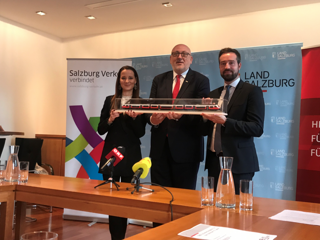 Allegra Frommer, Geschäftsführerin Salzburger Verkehrsverbund; Verkehrslandesrat Stefan Schnöll, Salzburg; ÖBB-CEO Andreas Matthä